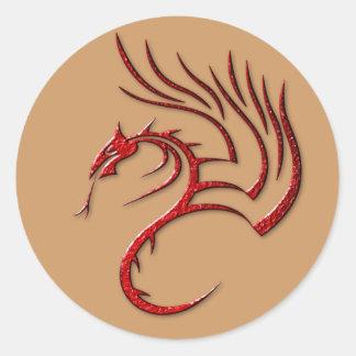 Metallisk röd bultad drake runt klistermärke
