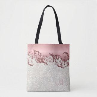 Metallisk rosa rosblommigt med vitkonfettiar tygkasse