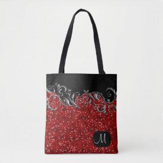 Metallisk silverblommigt med röda konfettiar tygkasse