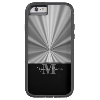 Metallisk svart monogram för silverfaux tough xtreme iPhone 6 skal