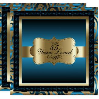 Metalliska blått & guld - 85. födelsedagsfest fyrkantigt 13,3 cm inbjudningskort