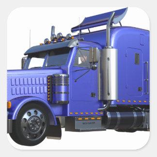 Metalliska blått som den halva lastbilen i tre fyrkantigt klistermärke