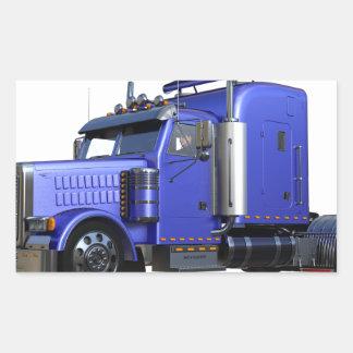 Metalliska blått som den halva lastbilen i tre rektangulärt klistermärke