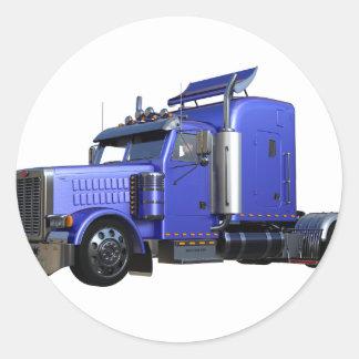Metalliska blått som den halva lastbilen i tre runt klistermärke
