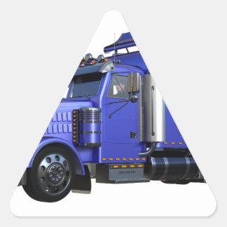 Metalliska blått som den halva lastbilen i tre triangelformat klistermärke