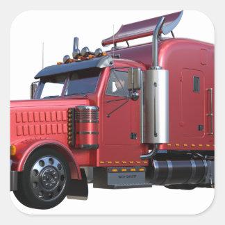 Metalliska röda halva TruckIn tre inkvarterar Fyrkantigt Klistermärke
