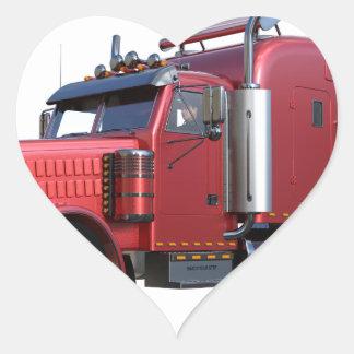 Metalliska röda halva TruckIn tre inkvarterar Hjärtformat Klistermärke