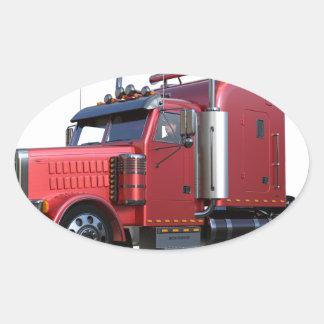 Metalliska röda halva TruckIn tre inkvarterar Ovalt Klistermärke