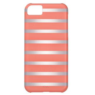 Metalliska Sheen för silver randar mot ljusa rosor iPhone 5C Fodral