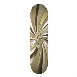 Metalliskt guld virvlar runt musikklavskateboarden skateboard bräda 21,5 cm