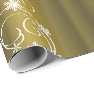Metalliskt guld, vit virvlar runt jul presentpapper