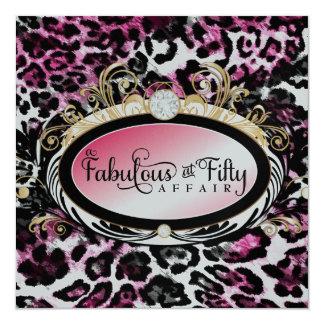 Metalliskt papper för rik guld- rosa Leopard 311 Fyrkantigt 13,3 Cm Inbjudningskort