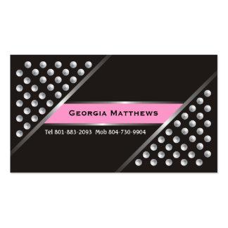 Metalliskt silver dubbar svart rosa visitkortar set av standard visitkort