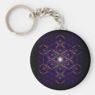 Metatrons kub/blomma av liv #2 rund nyckelring