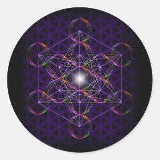 Metatrons kub/blomma av liv #2 runt klistermärke