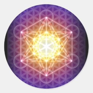 Metatrons kub/blomma av livklistermärken - runda runt klistermärke