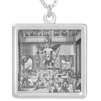 Mexicansk gud Huitzilopochtli Silverpläterat Halsband