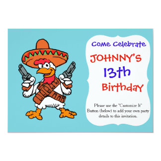 Mexicansk tupp 12,7 x 17,8 cm inbjudningskort