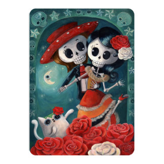 Mexicanska älskare day of the deadinbjudningarna 12,7 x 17,8 cm inbjudningskort