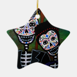 Mexicanskt måla för älskare julgransprydnad keramik