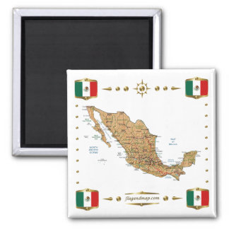 Mexico karta + Flaggormagnet Magnet