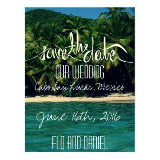 Mexico strandbröllop spara datum vykort