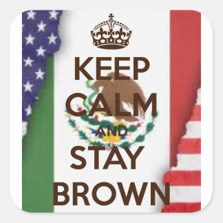 mexikansk amerikansk chicanoklistermärke för brun fyrkantigt klistermärke