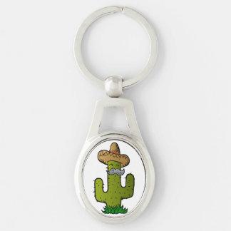 mexikansk kaktus med mustasch ovalt silverfärgad nyckelring