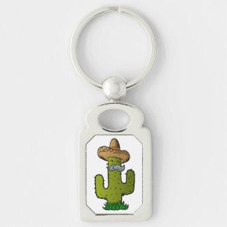 mexikansk kaktus med mustasch rektangulärt silverfärgad nyckelring