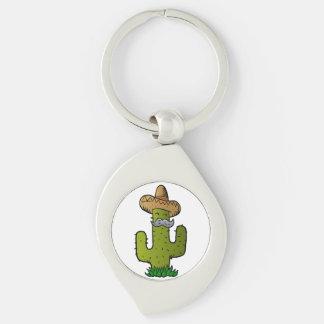 mexikansk kaktus med mustasch swirl silverfärgad nyckelring