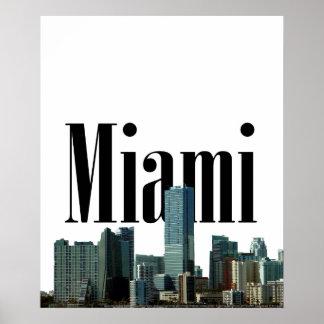 Miami horisont med Miami i himmelaffischen Poster