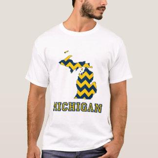 Michigan Maize och karta för blåttsparremönster T Shirts