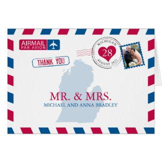 Michigan USA som gifta sig flygpost tack OBS Kort