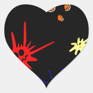 microbes på svart hjärtformat klistermärke