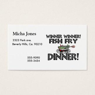 Middag för småfisk för vinnarevinnarefisk visitkort