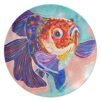 Middagen för den CalicoVeiltail guldfisken/dekorat Dinner Plate