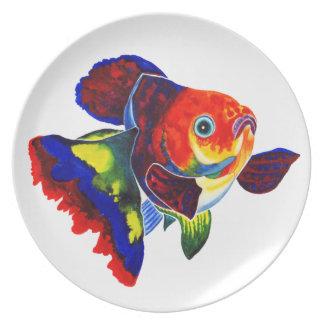 Middagen för den CalicoVeiltail guldfisken/dekorat Tallrikar