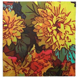 """Middagservetter """"Chrysanthemum dagdrömmer """", Tygservett"""