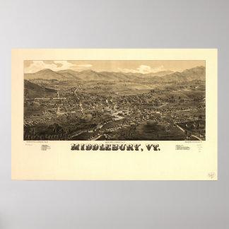 Middlebury Vermont 1886 antika panorama- karta Poster
