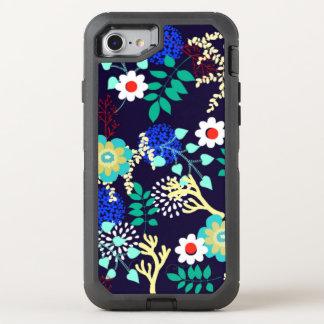 Midnatt botaniskt - abstrakt blommönster för mörk OtterBox defender iPhone 7 skal