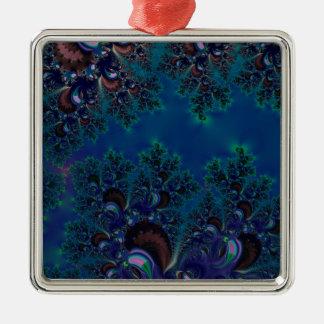 Midnatt Fractal för blåttfrostkristaller Julgransprydnad Metall