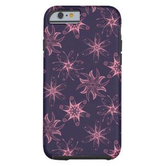 Midnatt purpurfärgad rosa blommigtabstraktiphone tough iPhone 6 case