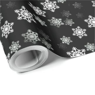 Midnatta svart snöflingakastbyar presentpapper