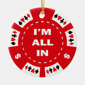Mig all förmiddag i röd pokerchip rund julgransprydnad i keramik
