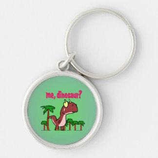 Mig Dinosaur Keychain Rund Silverfärgad Nyckelring