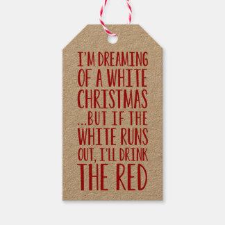 Mig drömma för förmiddag av jul för en vit pack av presentetiketter