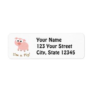 Mig förmiddag en gris returadress etikett
