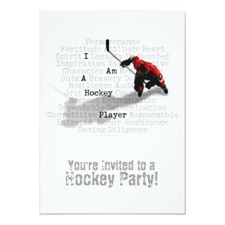 Mig förmiddag en hockeyspelarepartyinbjudan 12,7 x 17,8 cm inbjudningskort