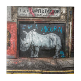 Mig förmiddag en Unicorn, Shoreditch grafitti Kakelplatta