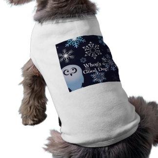 Mig förmiddag för ugglajul för dyft en snöig blått långärmad hundtöja